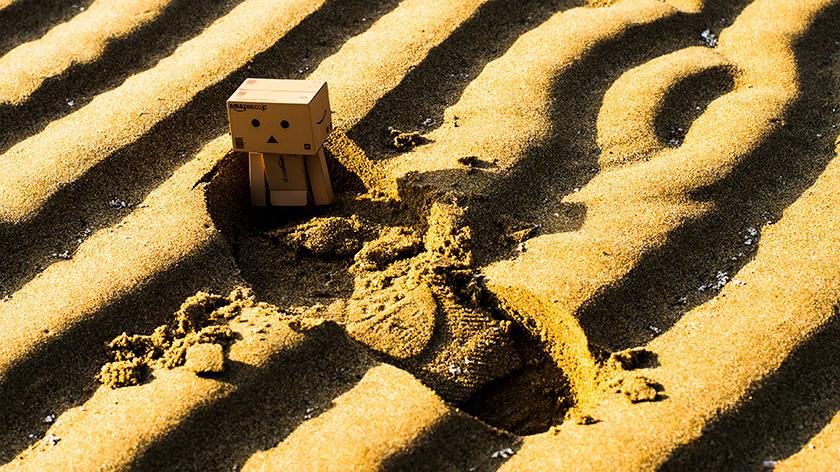 父母ヶ浜に埋もれるダンボー